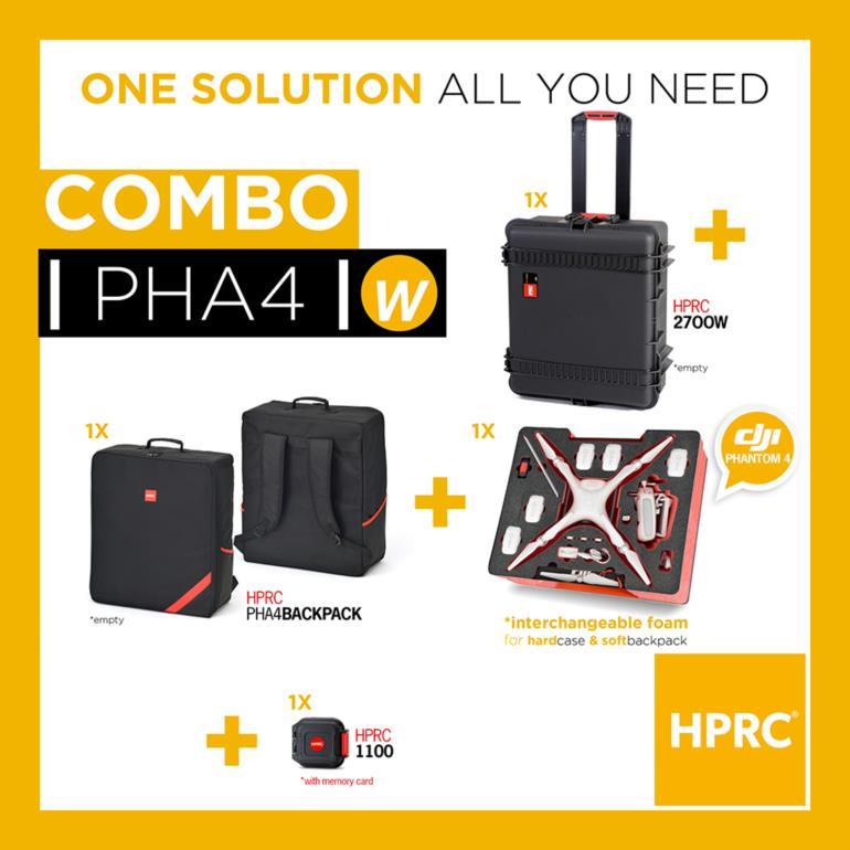 COMBO - HPRC2700W + SOFT BAG FOR DJI PHANTOM 4 (INTERCHANGEABLE FOAM)